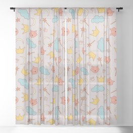 cute pattern with sleepy cats Sheer Curtain