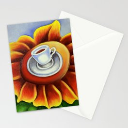 Espresso Cuban Coffee Cup on Flower. Miguez Art. Stationery Cards