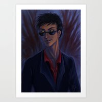 good omens Art Prints featuring Good Omens: Crowley by Katerina Romanova