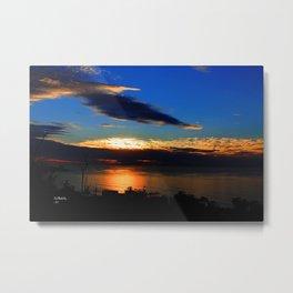 Blue Horizon Splashed At Sunset Metal Print