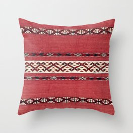 Triangle Stripe Kilim IV 19th Century Authentic Colorful Red Black White Vintage Patterns Throw Pillow