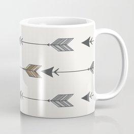 Vertical Arrow Patterns - Cream and Neutral Earth Tones Coffee Mug