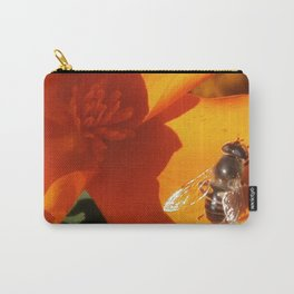 Golden California Poppy With Bee Carry-All Pouch