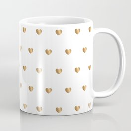 Small gold hearts pattern on white Coffee Mug