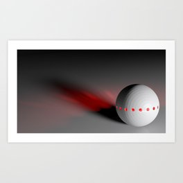 White sphere with red lights - 3D rendering Art Print