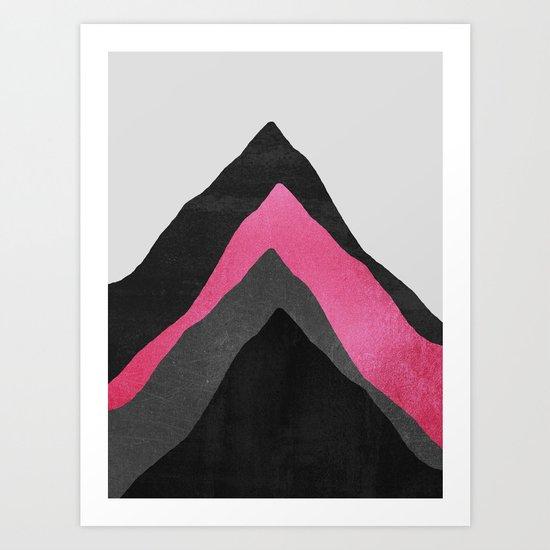 Four Mountains / Pink Art Print