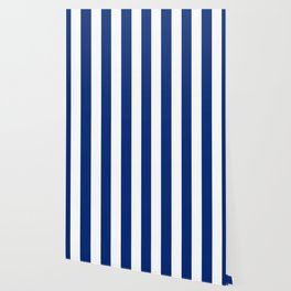 Catalina blue - solid color - white vertical lines pattern Wallpaper