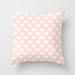 Pink Coral Love Hearts Throw Pillow
