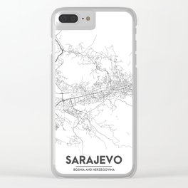 Minimal City Maps - Map Of Sarajevo, Bosnia And Herzegovina. Clear iPhone Case