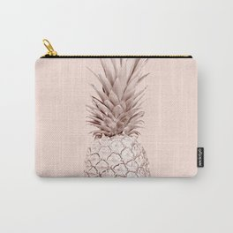 Rose Gold Pineapple on Blush Pink Carry-All Pouch
