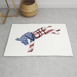 Vote Democrat Donkey Distressed USA Flag Design Rug