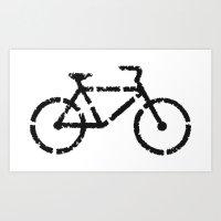 Bike Lane Pixels Art Print