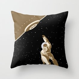 astronaut falling from lock dock Throw Pillow