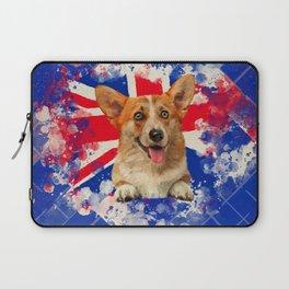 Corgi Portrait with Britain Flag Laptop Sleeve