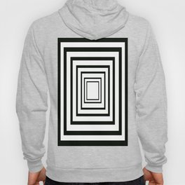Concentric Squares Black and White Hoody