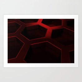 Brushed metal hexagon grille Art Print