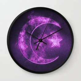 Symbol of Islam. Star and crescent moon. Abstract night sky background. Wall Clock