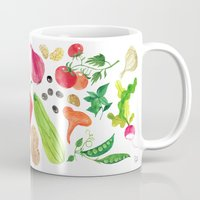 oana befort Mugs featuring VEGGIES by Oana Befort