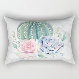 Cactus Rose Succulent on Marble by Nature Magick Rectangular Pillow