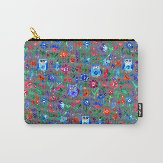 Little Owls and Flowers on Grey Carry-All Pouch