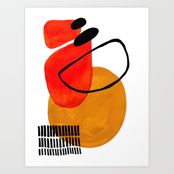 Mid Century Modern Abstract Vintage Pop Art Space Age Pattern Orange Yellow Black Orbit Accent Kunstdrucke