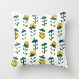 Geometric Wildflowers Throw Pillow