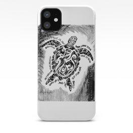 "'Honu Wisdom"" Hawaiian Sea Turtle, Ocean Original Art Drawing iPhone Case"
