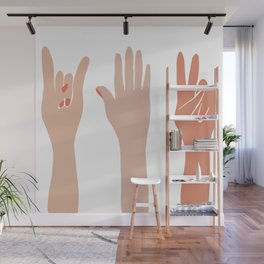 Hand Signs Female Abstract Graphic Design Wall Mural