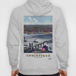 LOUISVILLE KENTUCKY city old map Father Day art print poster Hoody