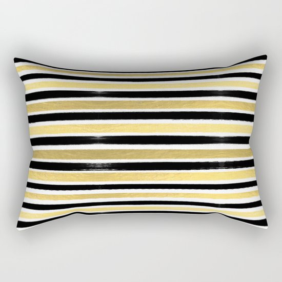 Black and white gold stripes modern brushstrokes minimal art print abstract painting gold foil Rectangular Pillow
