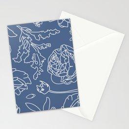 Peony Print (Navy) Stationery Cards