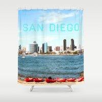 san diego Shower Curtains featuring San Diego  by Natasha Alexandra Englehardt