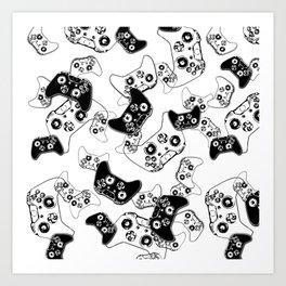 Video Game Black on White Art Print