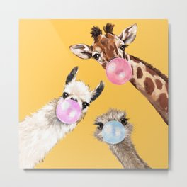 Bubble Gum Gang in Yellow Metal Print