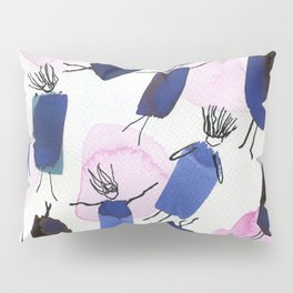 Free falling of the girls in the bright blue garments Pillow Sham