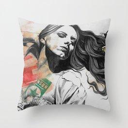 Beautiful Ruin II   sexy girl in lingerie with butterflies Throw Pillow