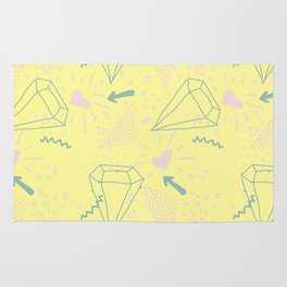 Memphis Pattern - Gemetrical  Retro Art in Yellow and Pink - Mix & Match With Simplicity Of Life Rug