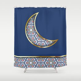 Patterned crescent on dark blue Shower Curtain