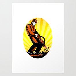 Construction Worker Jackhammer Oval Art Print