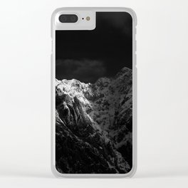 Sunlight hitting the mountains black and white Clear iPhone Case