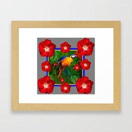 GREY RED HIBISCUS GOLD MACAW JUNGLE ART Framed Art Print