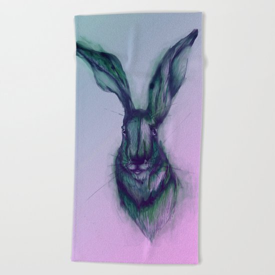 Blue Hare in Pink Beach Towel