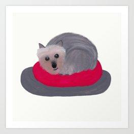 Yorkie Donut Art Print