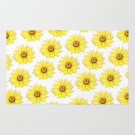 Sunflowers On White Rug