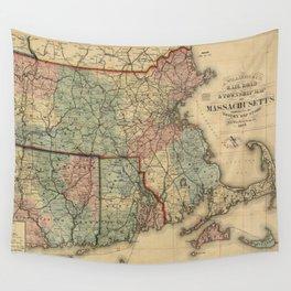 Vintage Massachusetts Railroad Map (1879) Wall Tapestry
