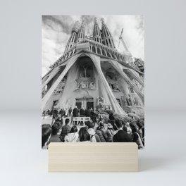 Tourists at the Passion Facade Sagrada Familia BW Mini Art Print