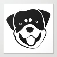 rottweiler Canvas Prints featuring Rottweiler by anabelledubois