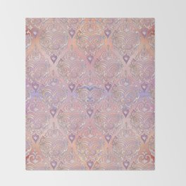 Persian Oriental Rose Marble and Silver Throw Blanket