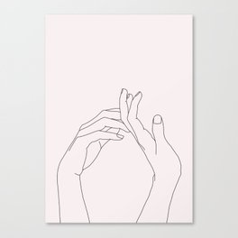 Hands line drawing illustration - Abi Natural Canvas Print