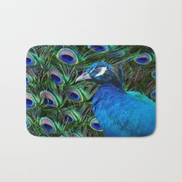 Blue Peacock and Feathers Bath Mat
